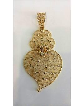 Pendente Coração com Granitos em Ouro